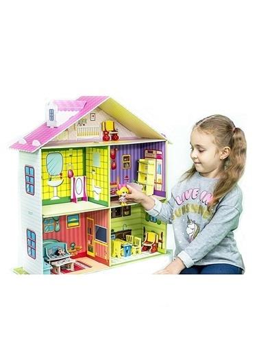 Diytoy Diytoy  Doll House Benim Güzel Evim 3 Katlı 70 X 65 X 22 Cm Büyük Bebek Evi Oyun Evi Renkli